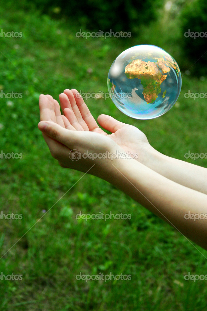 A globe above the women hand. — Stock Photo #1939383