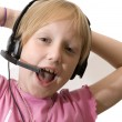 Young operator with headset — Stock Photo