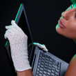 Beauty with laptop — Stock Photo