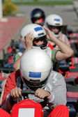 Go Kart Racers Getting Ready to Race — Foto Stock