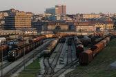 Dusky train depot — Stock Photo