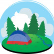 Camping in the forest with a tent — Stock Vector