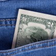 2 dollars in a pocket of jeans — Stock fotografie