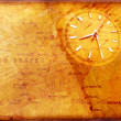 Clock with old textured map - Stock Photo