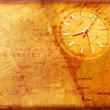 reloj con viejo mapa de textura — Foto de Stock