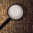 Magnifying glass with abstract text — Stock Photo #1911165