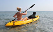 Woman and og on a kayak — Stock Photo