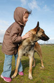 Little girl and malinois — Stock Photo