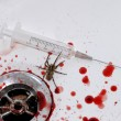 Blood, drug, suicide and spider — Stock Photo
