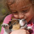 Little girl and puppy — Stock Photo #1917408