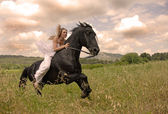 Riding wedding woman — Stock Photo