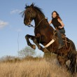 Stock Photo: Rearing stallion and girl