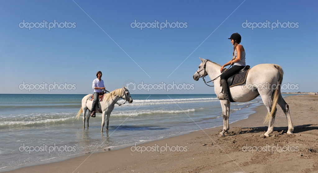A father and his daughter with their horses in holidays — Stock Photo #2026994