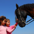 Twins and horse — Stock Photo