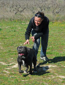 Cane corso and woman — Stock Photo