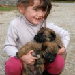 Smiling girl and puppies - Stockfoto