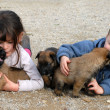 Children and puppies - Stockfoto