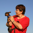 Постер, плакат: Miniature pinscher and woman