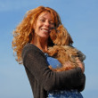 Woman and little dog — Stock Photo