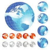Big Globe set — Stock Vector