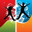 Boy and girl silhouettes jumping — Stock Vector