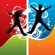 Boy and girl silhouettes jumping — 图库矢量图片