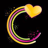 Corazón amarillo brillante — Vector de stock