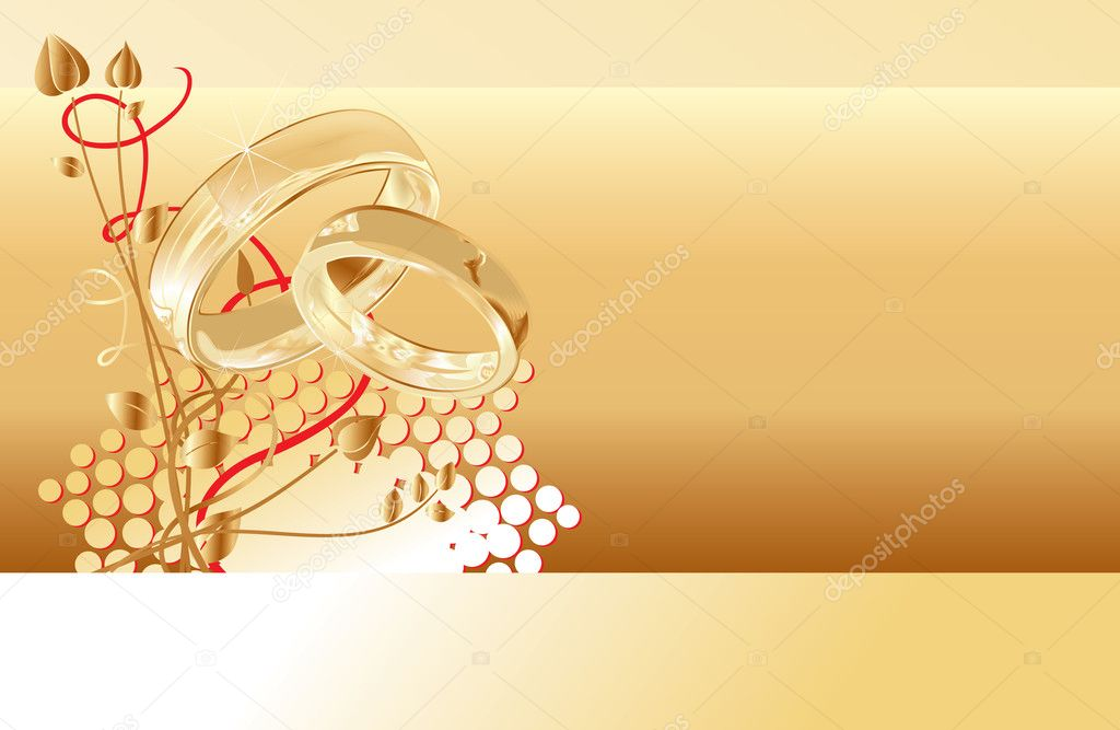 Gold wedding rings card design, vector illustration  — Stock Vector #1855895