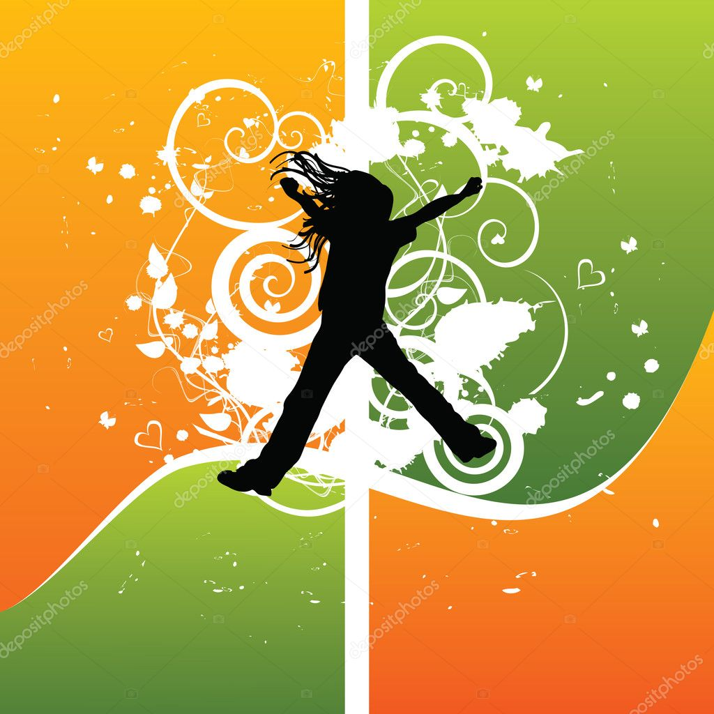 Girl silhouette jumping from joy, vector illustration — Stock Vector #1857185
