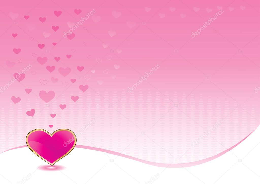 Pink background with shiny heart for valentines day, vector illustration — Stock Vector #1857340