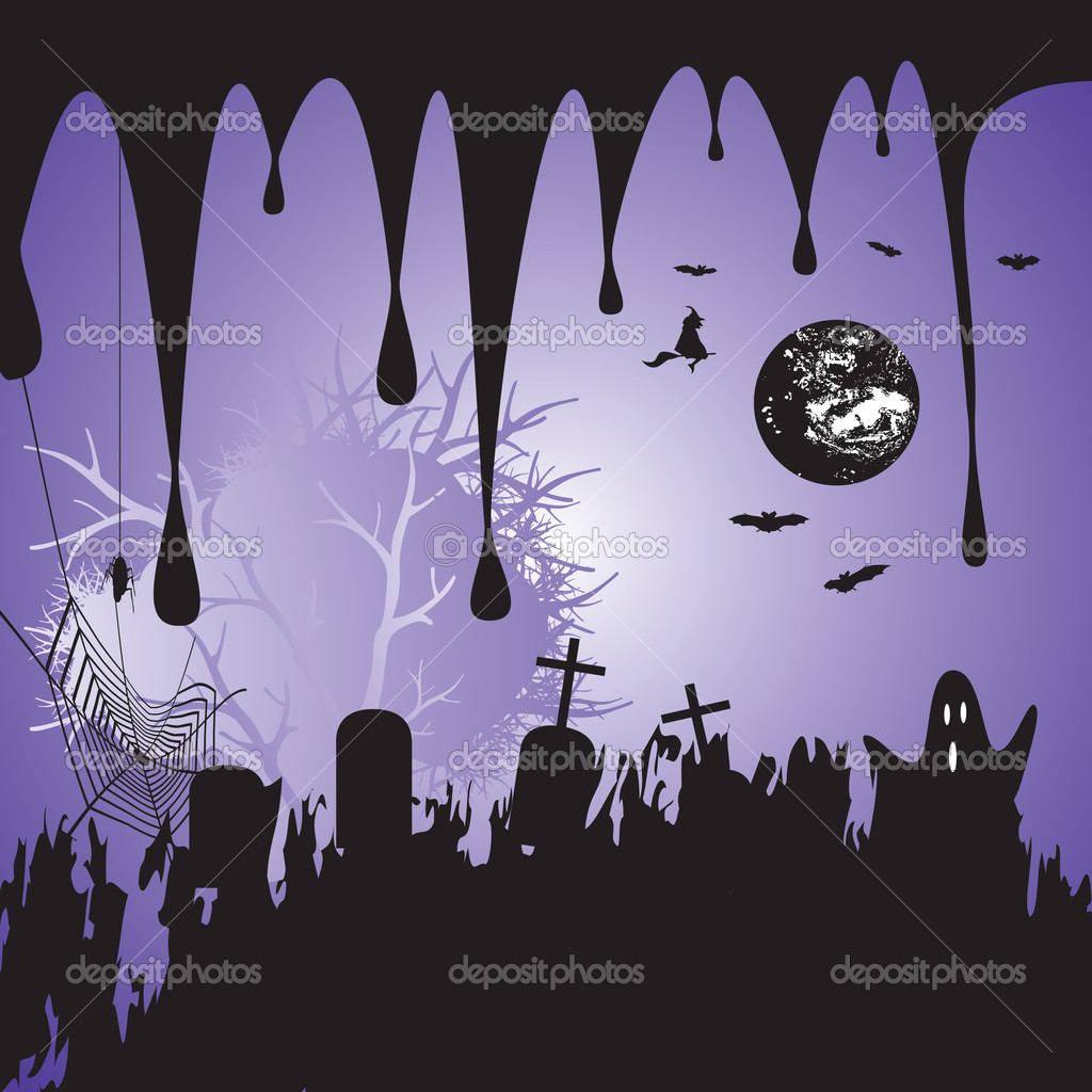 Halloween scary background, vector illustration — Stock Vector #1861916