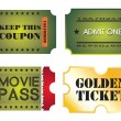 Stock Vector: Set of colorful cinema tickets