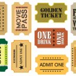 Vintage cinema tickets — Stok Vektör