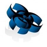 Shiny blue Hazard 3d Icon — Stock Vector