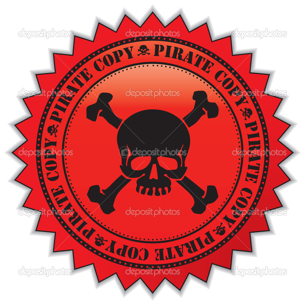Pirate copy label with scull, vector illustration  Stock Vector #1893212