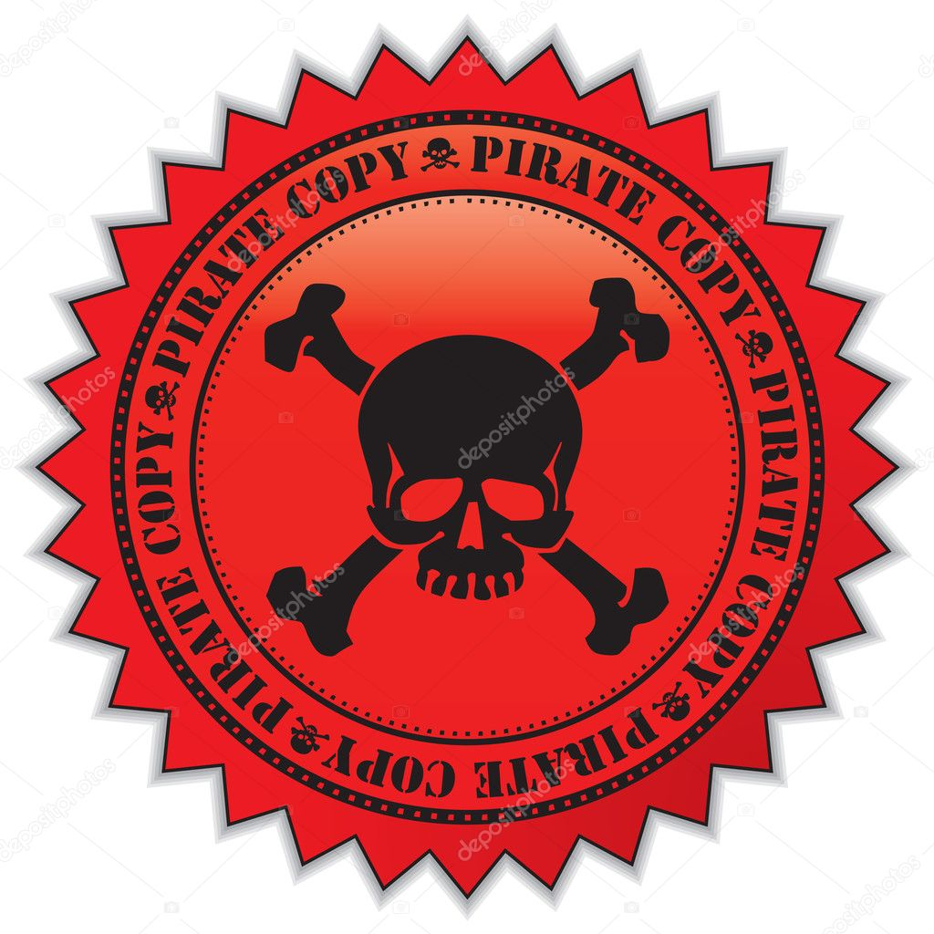 Pirate copy label — Stock Vector © milinz #1893212