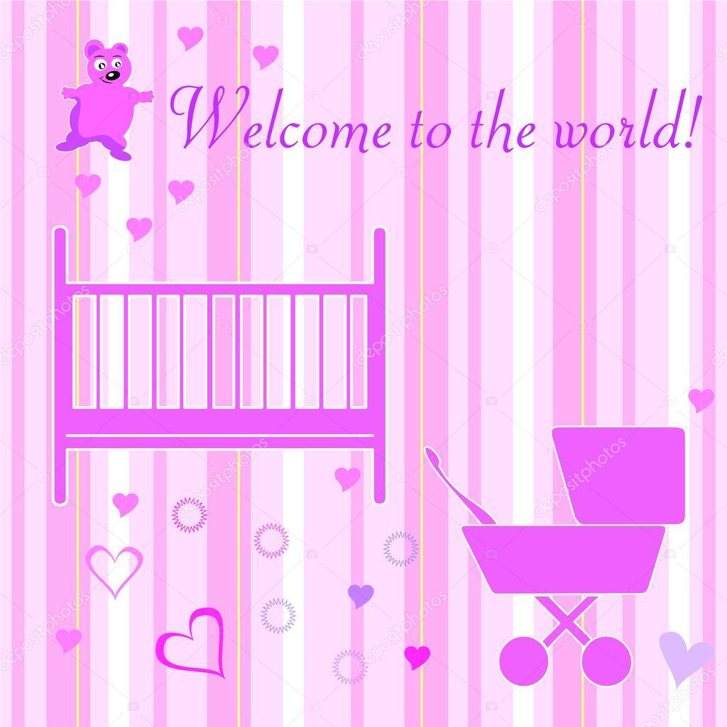 Baby girl welcome card design elements vector illustration —Vector ...