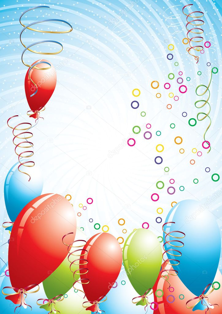 Celebration background with balloons, vector illustration — Stok Vektör #1898601