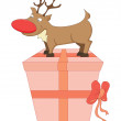 Stock Vector: Small Rudolph on gift