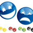 Stock Vector: Smilies comedy-tragedy masks