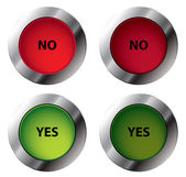 Yes and No shiny buttons — Stock Vector