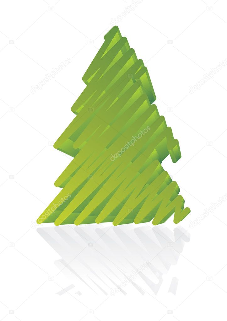 Stylized artistic pine tree 3D vector illustration — Stock Vector #1903222