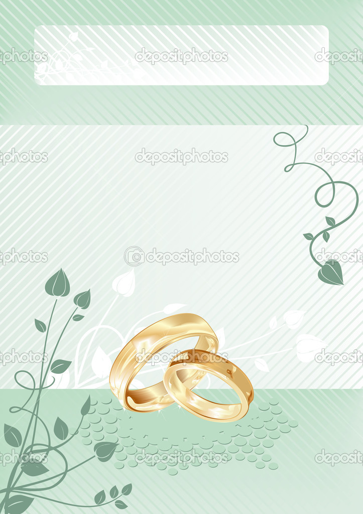 Wedding card with gold rings, vector illustration  Stock Vector #1906648