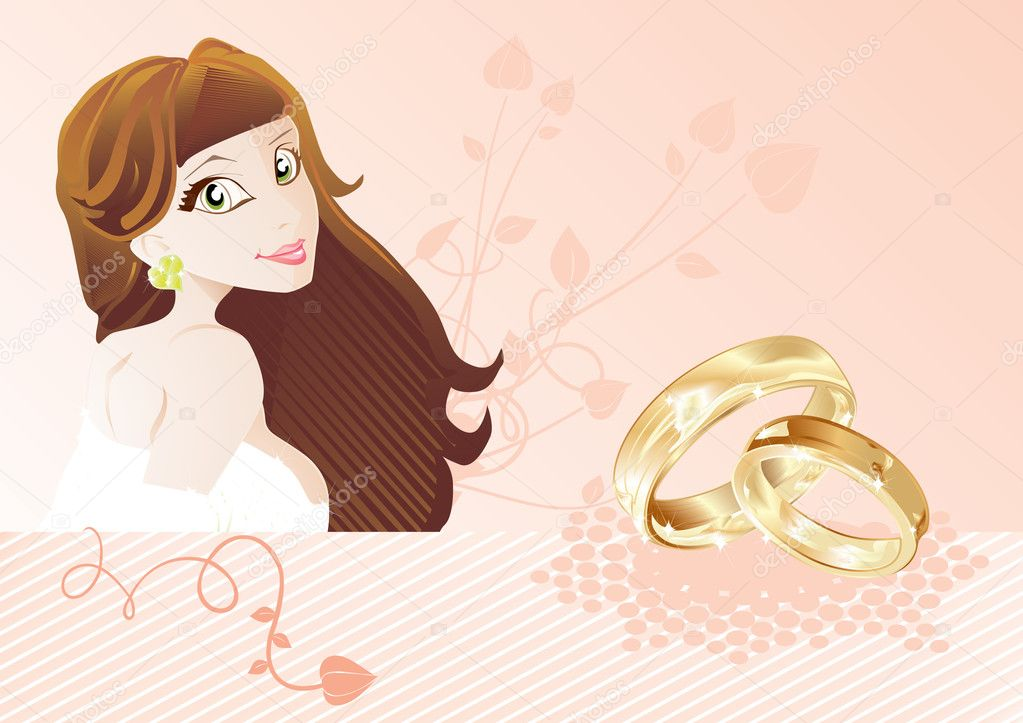 Wedding card with bride and rings, vector illustration — ベクター素材ストック #1907536