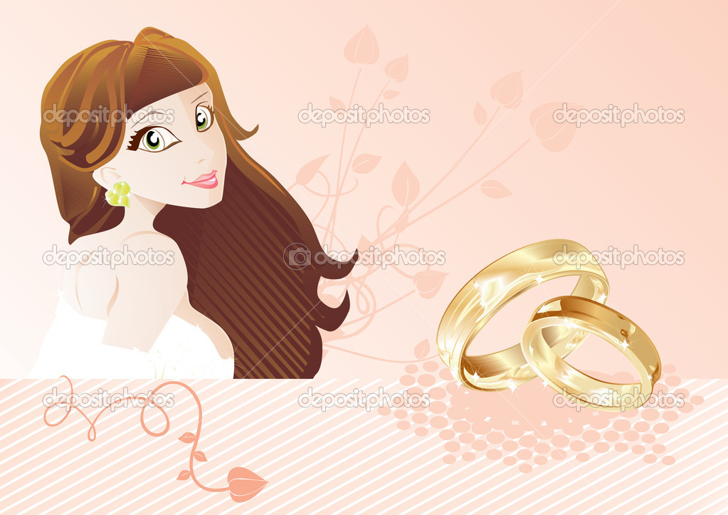 Wedding card with bride and rings, vector illustration — Векторная иллюстрация #1907536