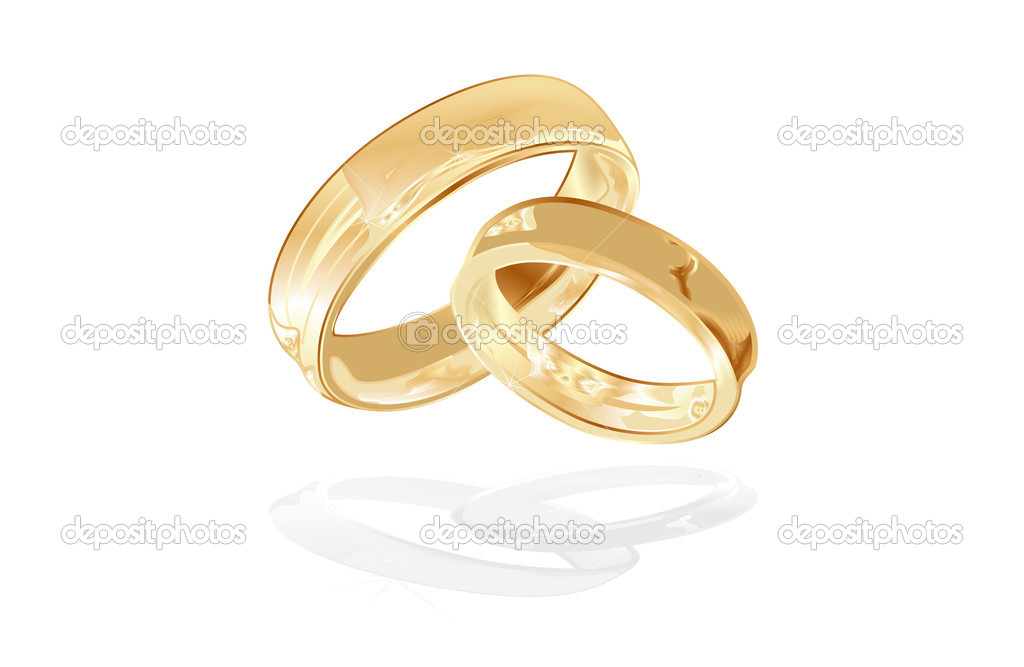 Gold wedding rings isolated, vector illustration — ベクター素材ストック #1907654