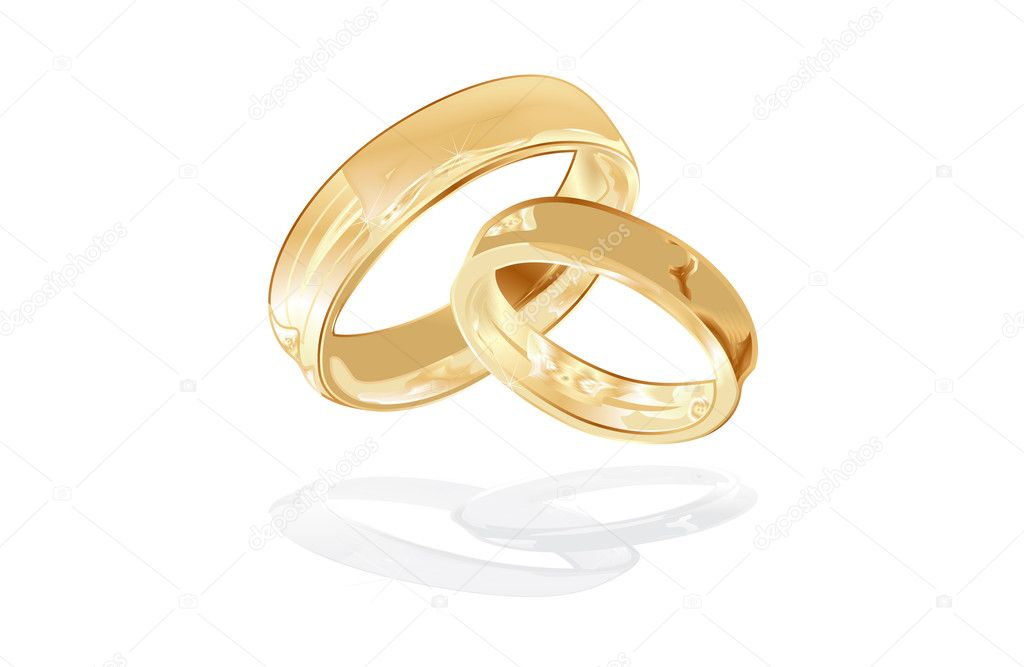 Gold wedding rings isolated, vector illustration — Stock vektor #1907654