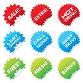 Försäljning klistermärken — Stockvektor