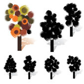 Artistic tree collection — Stock Vector
