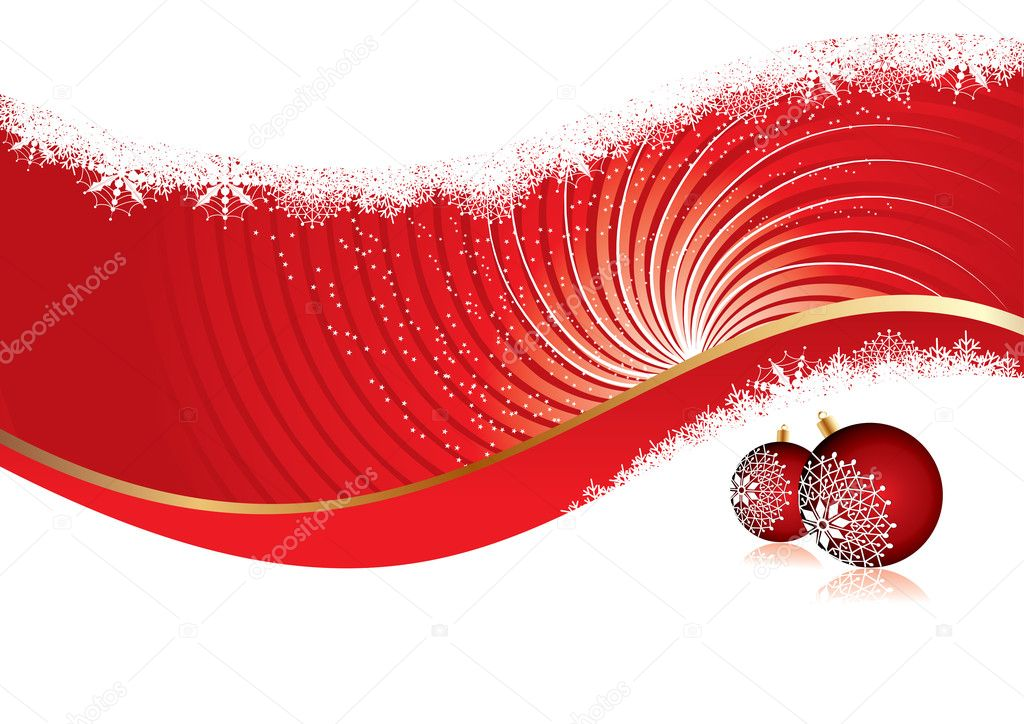 Christmas card with red ornaments, vector illustration — Stock Vector #1910026